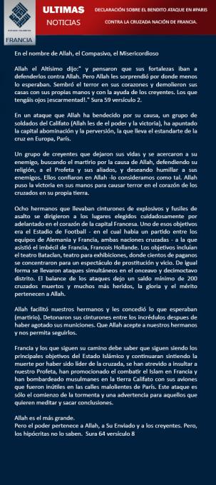 Comunicado ISIS español 14-11-15